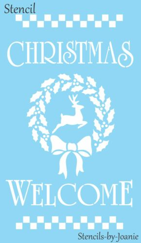 Joanie Stencil Christmas Winter Welcome Reindeer Holly Wreath Prim Check Border