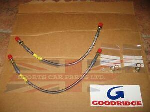 Pair-New-Stainless-Front-Brake-Lines-Hoses-Line-Hose-for-MGB-1963-80-Goodridge