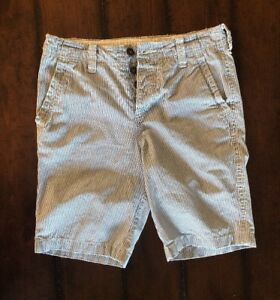 Abercrombie-amp-Fitch-Bermudas-Chinos-Shorts-Sz-28-Button-Fly-Flat-Front-Striped