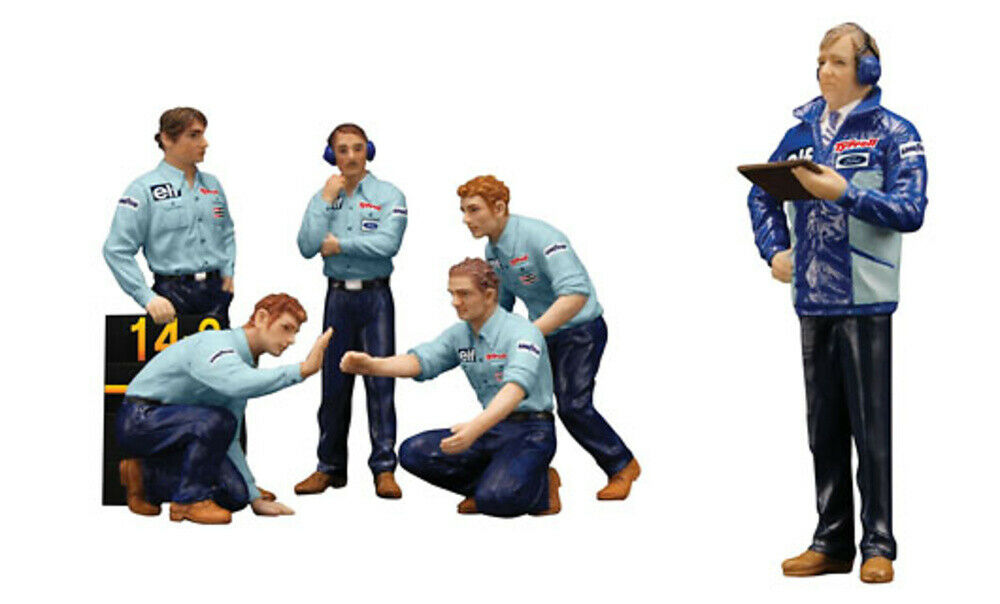 Set de 6 figures F1 Pit Crew Team Tyrrell 1976 TSM 1 43