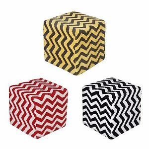 Amazing Details About Homescapes Chevron Pattern Cube Pouffe Tufted Cotton 36 X 36 X 38 Cm Gmtry Best Dining Table And Chair Ideas Images Gmtryco