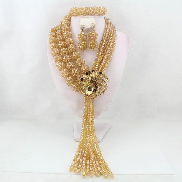 Beautiful Elongated Champagne Crystal gold Balls African Beads Jewellery Set