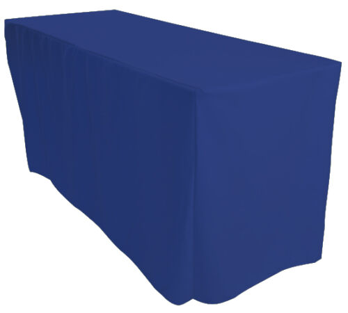 1x 6ft Fitted 3 sided Royal Blue Rectangular Trestle Exhibition Tablecloth