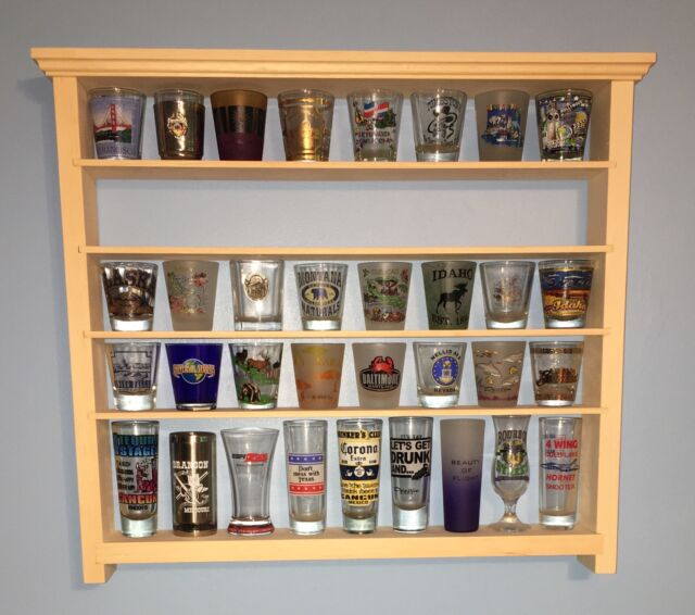 40 shot glass wall shelf display case knick knack rack solid pine
