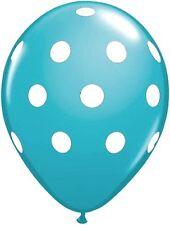 "10 pc - 11"" Qualatex Big Polka Dot Tropical Teal Latex Balloon Party Decoration"