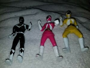 """3 - Power Rangers Action Figures..4""""..Used..2000..Pink, Yellow, Black"""
