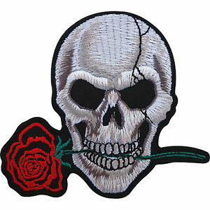 Biker-Patch-Skull-Rose-Embroidered-Badge-Iron-On-Sew-On-Clothes-Jacket-Jeans