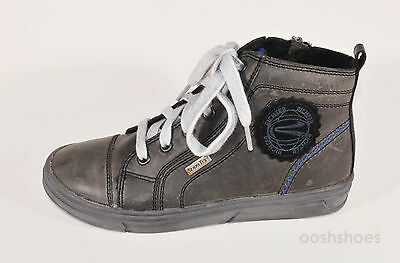 Richter Boys Black Leather Waterproof Zip & Lace Boots UK 1 EU 33 US 1.5 RRP £62