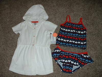 Carter's Baby Girls 4th of July Swim Set Swimsuit Cover Size 12M 12 Months NWT