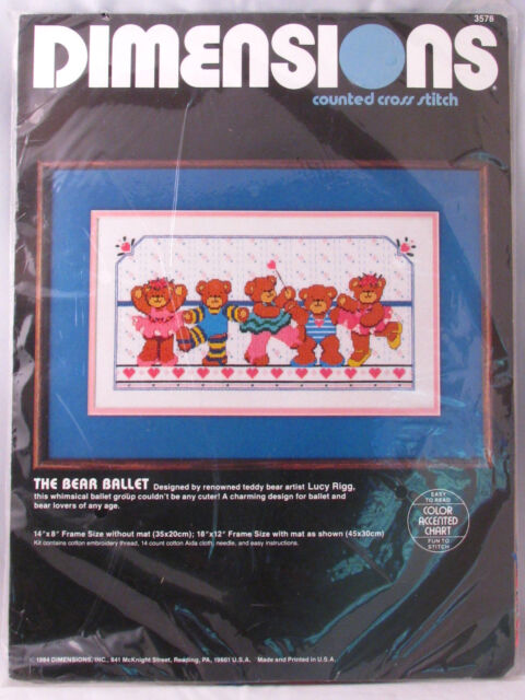 Dimensions Teddy Bear Ballet Kit Counted Cross Stitch 3578 New 1984