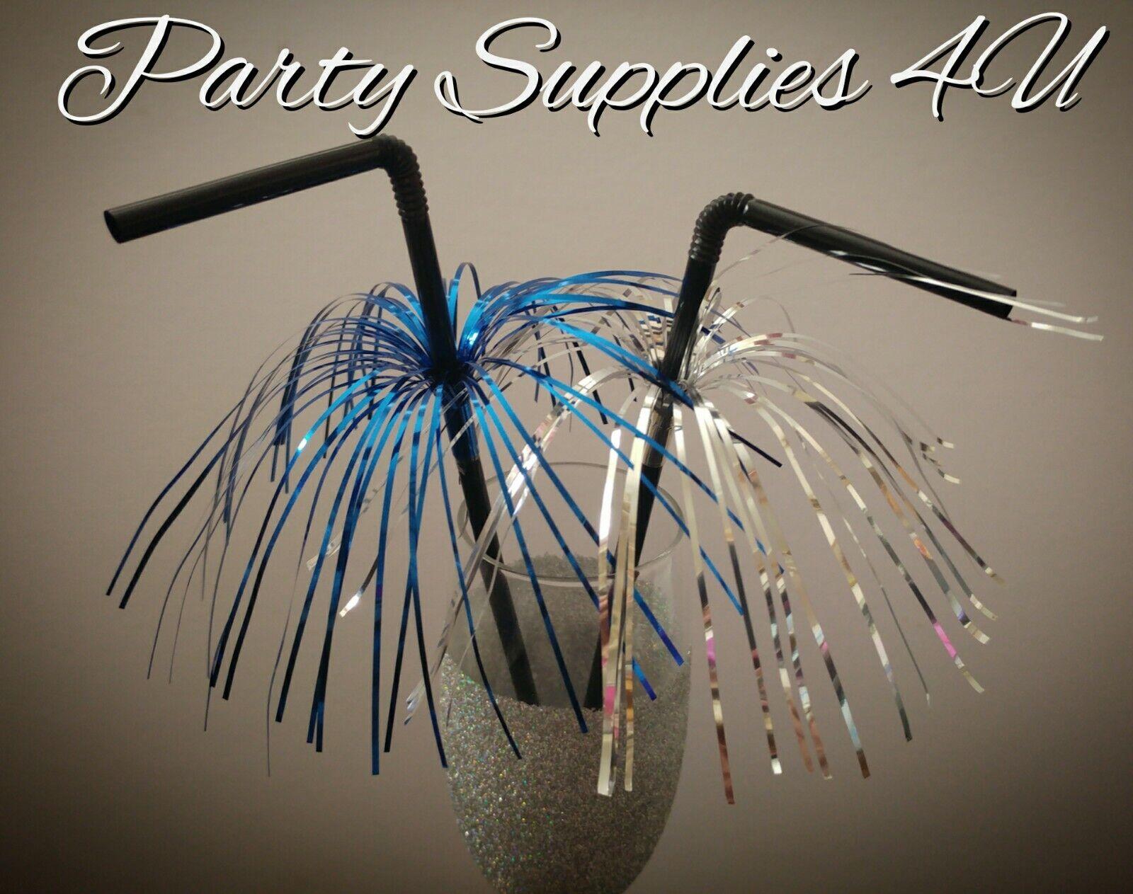 20 Blue Silver Foil Cocktail Party Black Straws Drink Bar Baby Shower Birthday Ebay