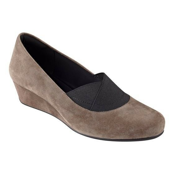 Easy Spirit Davani wedge pumps taupe brown suede leather sz 11 Med NEW
