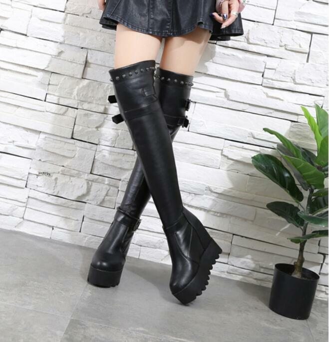 Womens Buckles Over Knee Boots Pull On wedge wedge wedge heel Rivets Platform Knight shoes 244caf