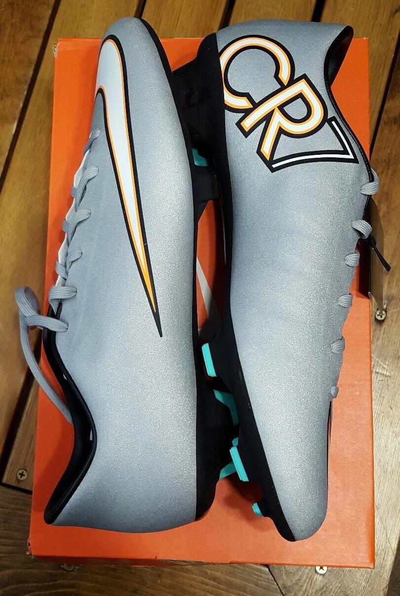 MENS Nike Mercurial Victory V CR RONALDO FG Metallic Silver Turquoise Sz 11
