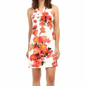 NWT-MSRP-140-ADRIANNA-PAPELL-Cut-Away-Floral-Shift-Dress-Multi-color-10-14-16