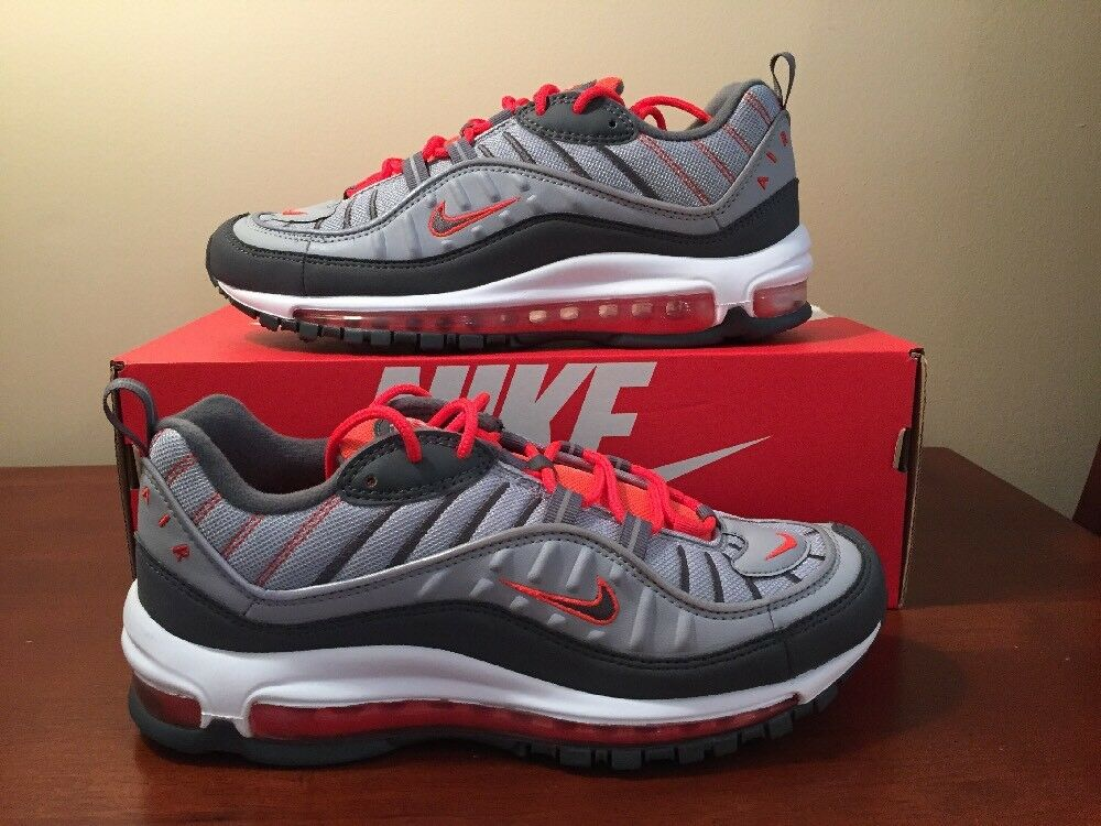 Nike Air Max 98 Running Wolf Grey Grey Crimson Men's Sz 8 NEW 640744 006