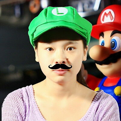 Chic Luigi Super Mario Bros Cosplay Adult Size L Hat Cap Baseball Costume FE