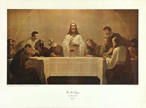 GEBHARD-FUGEL-XRare-Vtg-1943-Mid-Century-Collotype-Jesus-Christ-THE-LAST-SUPPER