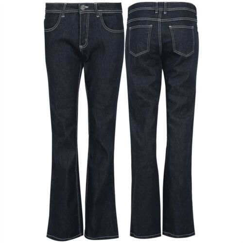 New Womens Ladies Bell Bottom Bootcut Pants Pockets Flared Wide Legs Denim Jeans