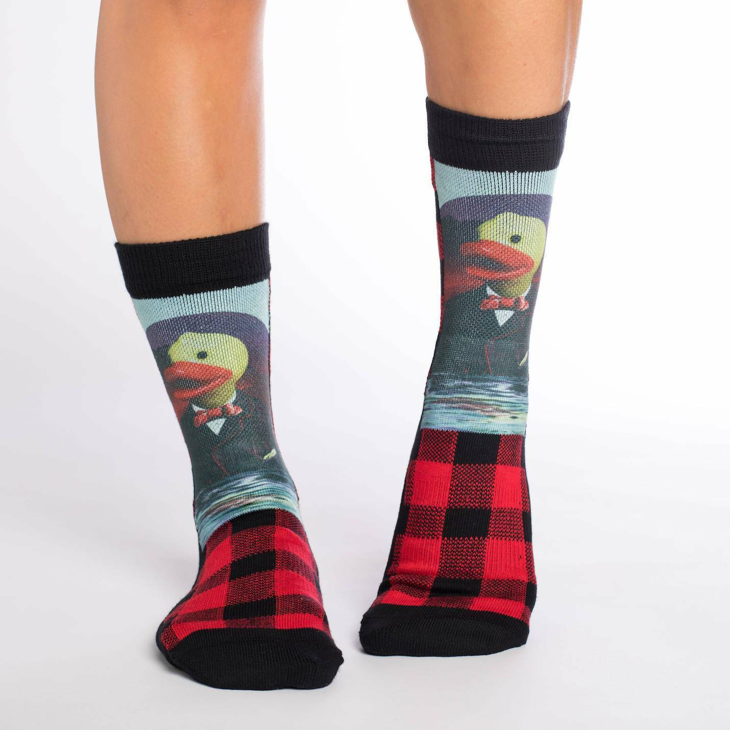 Adult Shoe Size 5-9 Red Good Luck Sock Womens Rubber Ducks Crew Socks