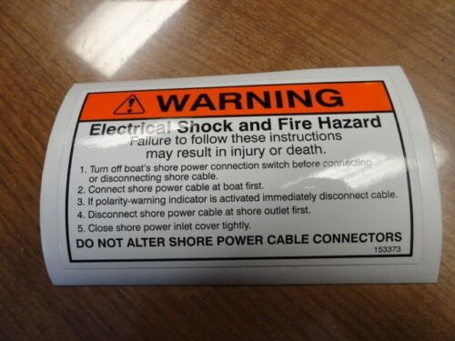 """WARNING SHORE POWER CABLE LABEL DECAL 5/"""" X 3/"""" 153373 MARINE BOAT"""