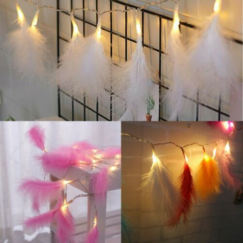10//20 LED Fluffy Feather Fairy String Lights Wedding Party Christmas Home Decor