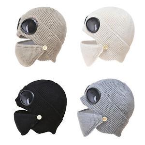 Masque de tête de visage hiver bonnet chaud avec lunettes casquette d'oreille