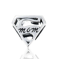 Super Mom Charm - Silver European Bead - Birthday Gift - Mother's Day Gift