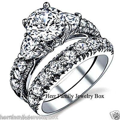 925 Sterling Silver Round cut Engagement Ring Wedding Bridal Set Women's sz 4-11