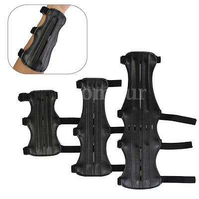 Black 3 Strap Leather Shooting Archery Arm Guard Protection Straps Guard Hunting