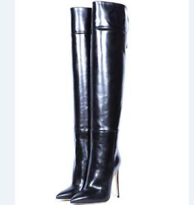 1062825dc4f Details about Women Over The Knee Boots Motorcycle Back Zipper Slim High  Heels Shoes Plus Size