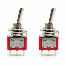 2pcs Mini 6mm Mts 102 Toggle Switch 3 Pin 2 Position On On 5a125vac