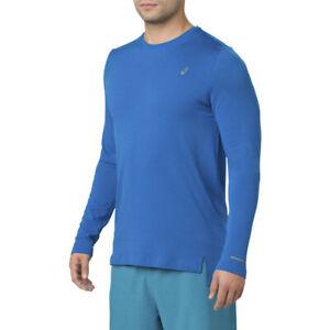 ASICS-Da-Uomo-Senza-Cuciture-A-Maniche-Lunghe-Blu-Sport-Corsa-Traspirante-Riflettente