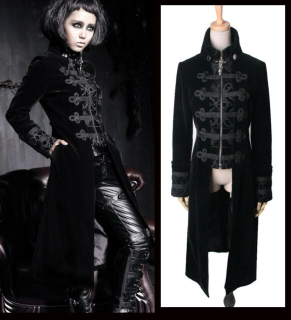 Fashion Gothic Punk Streampunk Jacket Coat Hoodie Black Military Cosplay outfit