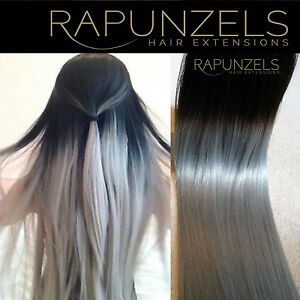 Ombre hair extensions natural black to silver grey weave weft diy image is loading ombre hair extensions natural black to silver grey solutioingenieria Image collections