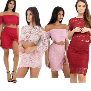 ec0ed6833d323 Details about New Womens Ladies Lace Top And Skirt 2 Piece Co-Ord Set  Bodycon Party Outfit