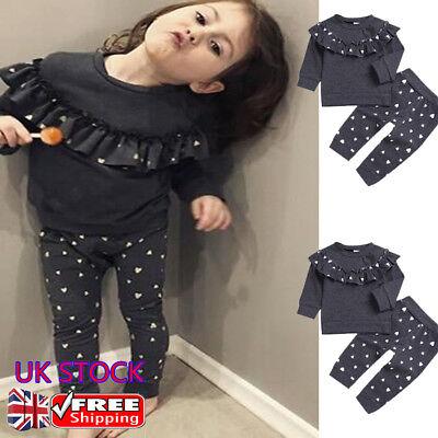 2PCS Baby Girls Outfits T-shirt+Pants Set Toddler Autumn Clothes Tracksuit UK