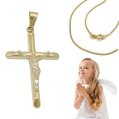 Taufe Kinder Kommunion Jesus Korpus Kreuz Echt Gold 585 mit Silber 925 vergoldet