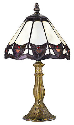 Art Deco Tiffany Table Lamp with Golden/Bronze Resin Base