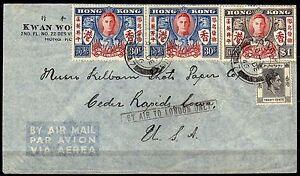 574-Gran-Bretagna-colonie-Hong-Kong-Busta-via-aerea-per-Stati-Uniti-1946