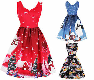 ff65d40d3bcf Image is loading Womens-Rockabilly-Christmas-Party-Dress-Cocktail-Costume- Regular-