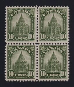 Canada Sc #173 (1930) 10c olive Library of Parliament Block of 4 Mint VF H