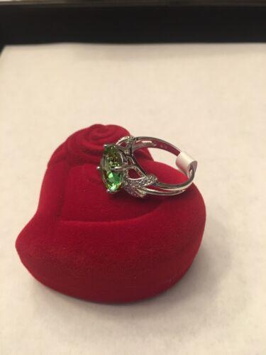 R49 Voir Dimensions Ci-Dessous Nouveau Argent Sterling Plaqué Grande Ronde Vert Gemstone Ring