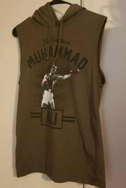 Muhammad Ali The Greatest Sleeveless Tank Hoodie Sweatshirt Boxing Small Brown