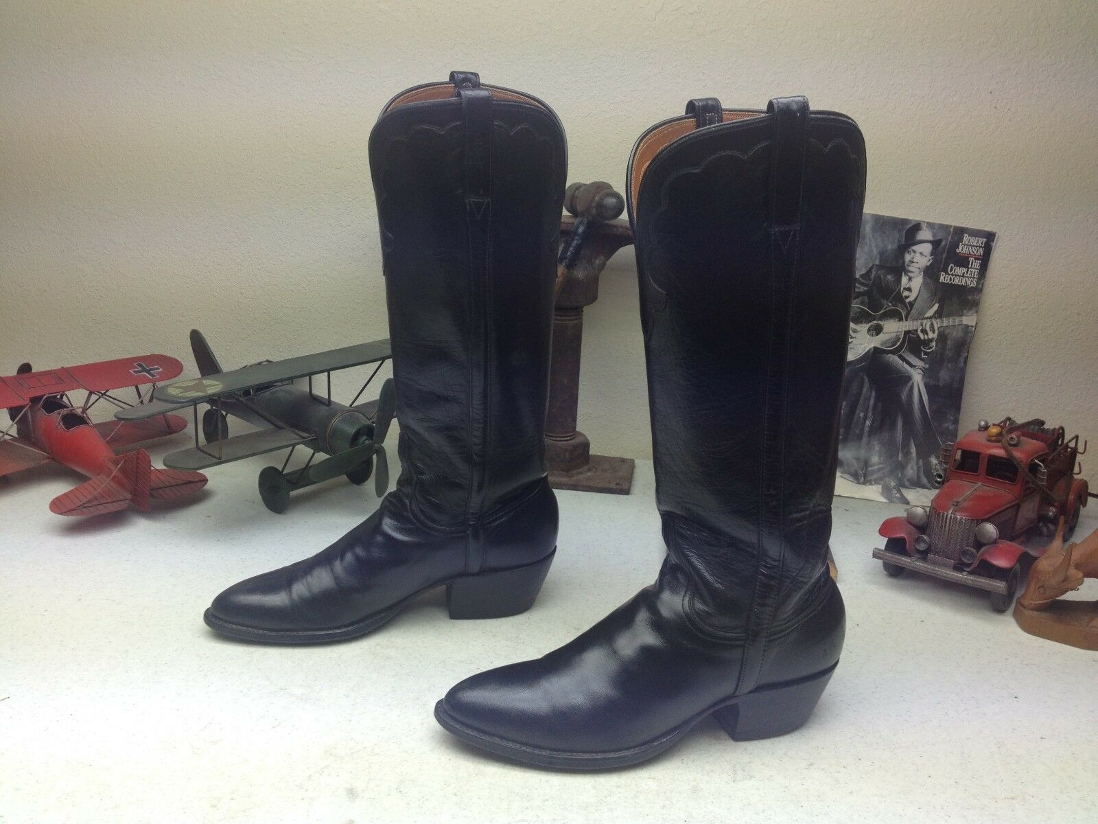 BLACK LEATHER CAVENDERS BOOT CITY DISTRESSED PULL ON WESTERN BOOTS SIZE 7B