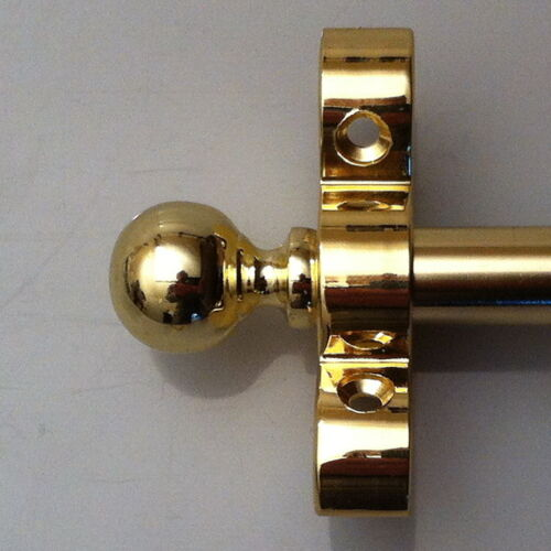 R06B 1//2 INCH  POLISHED BRASS  STAIR  RODS BALL FINIAL