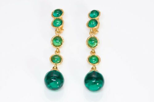 Deanna Hamro 1980's Gold Plated Long Green Cabocho