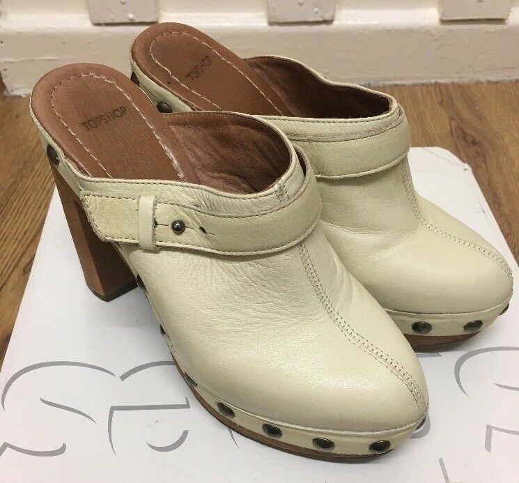 Gorgeous Topshop Seanna Beige Clogs Size 4 UK RRP £68