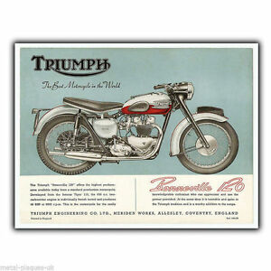 Triumph-Bonneville-120-t120-Vintage-Advert-METAL-SIGN-WALL-PLAQUE-art-print