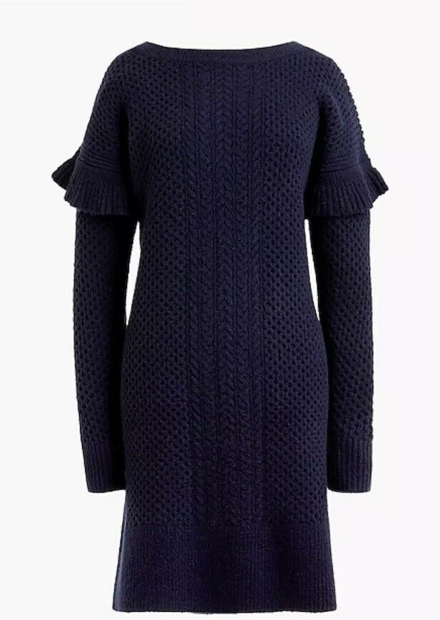 New J Crew Cable-knit ruffle-sleeve sweater-dress Navy bluee Size L Large H2478